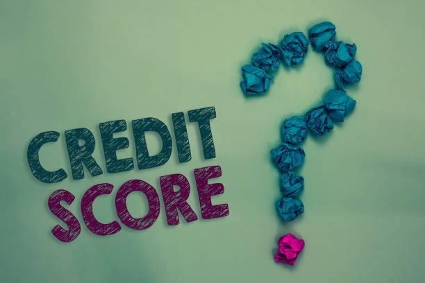 Text sign showing Credit Score. Conceptual photo Represent the creditworthiness of an individual Lenders rating Crumpled papers forming question mark several tries unanswered doubt stock photo