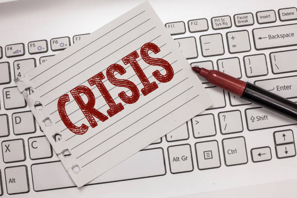 Text sign showing Crisis. Conceptual photo time when difficult or important decision must be made danger stock photo