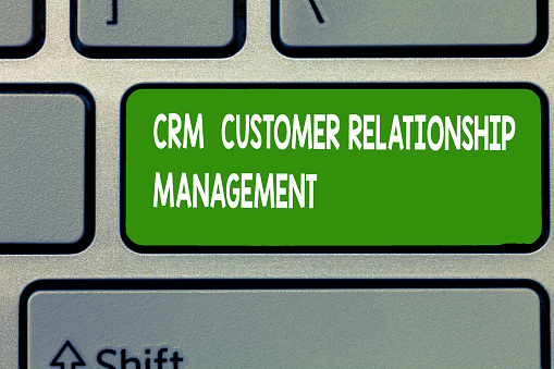 istock Text sign showing Crm Customer Relationship Management. Conceptual photo Manage and analyze customer interaction 1049736532