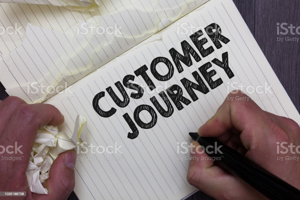 Text sign showing Customer Journey. Conceptual photo product of interaction between organization and customer Man holding marker notebook crumpled papers ripped pages mistakes made. stock photo