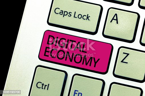 Text sign showing Digital Economy. Conceptual photo refers to one that is based on computing technologies.