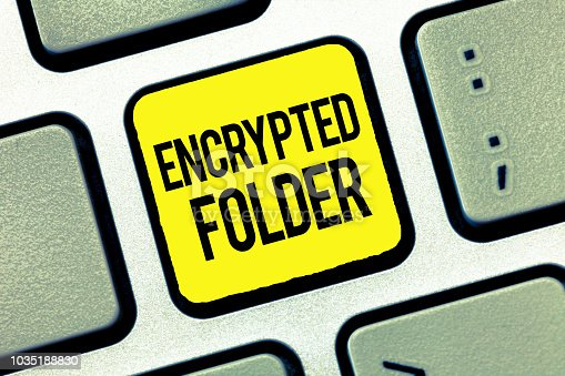 istock Text sign showing Encrypted Folder. Conceptual photo protect confidential data from attackers with access 1035188830