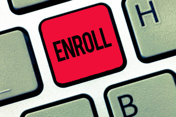 text sign showing enroll. conceptual photo officially register as member of institution or student on course - open enrollment stock photos and pictures