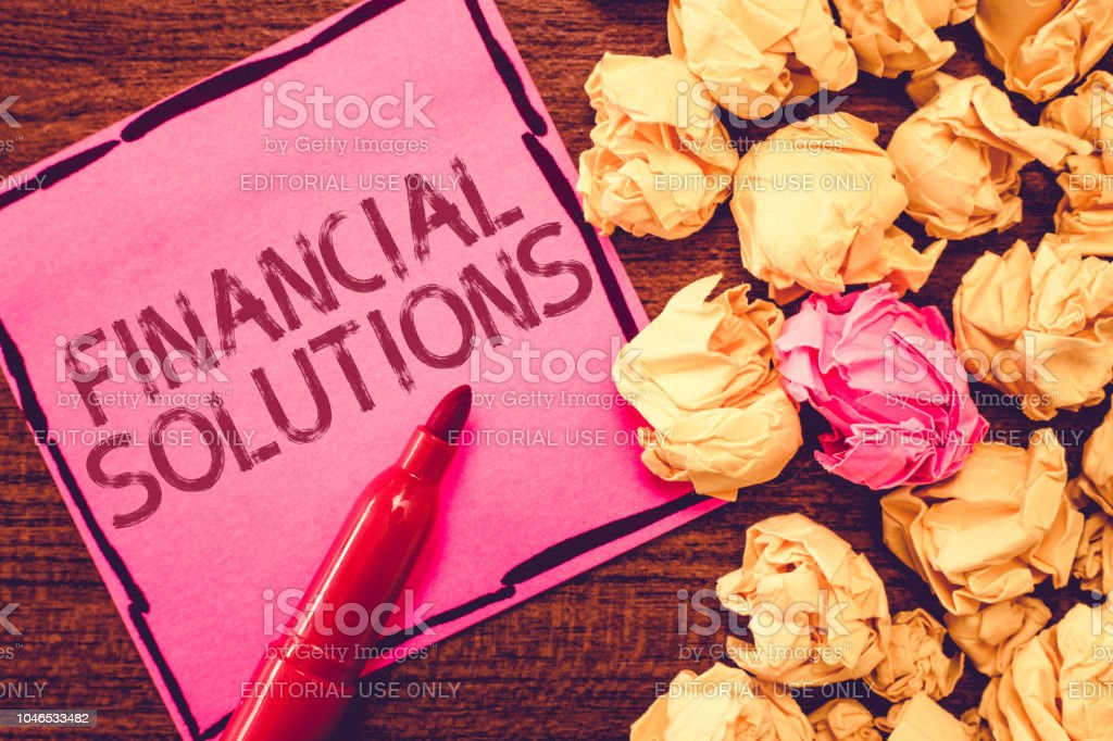 Text sign showing Financial Solutions. Conceptual photo to Save Money on Insurance and Protection Needs stock photo
