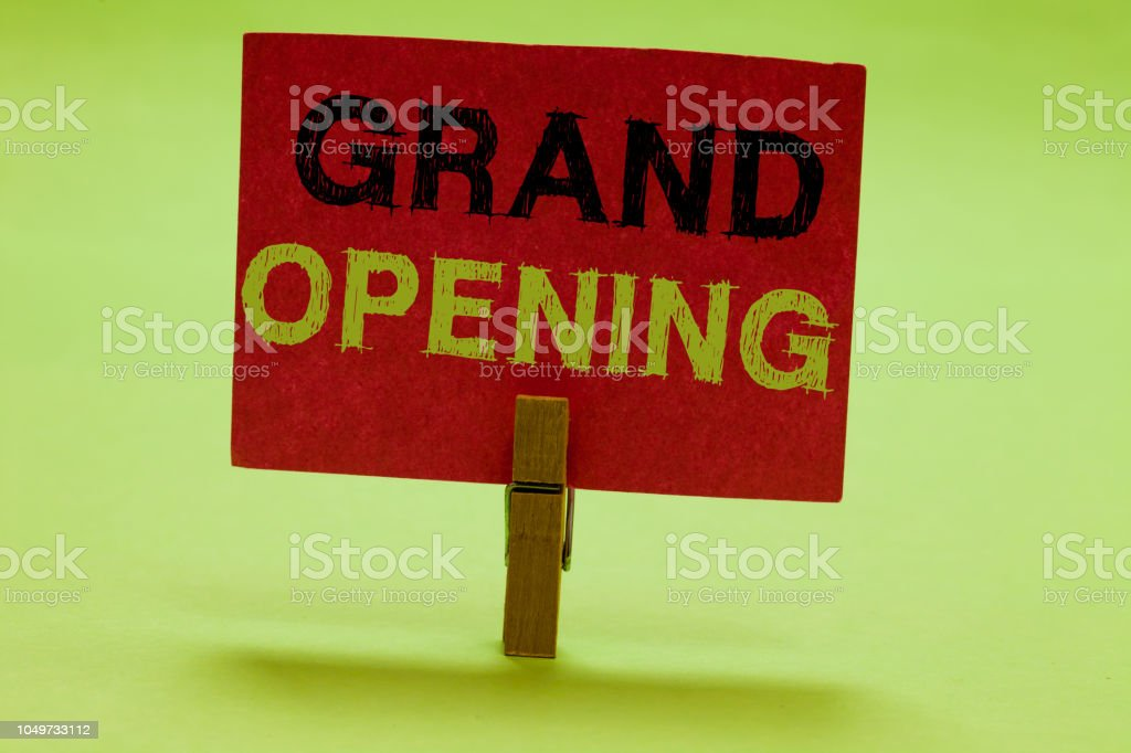 Text Sign Showing Grand Opening Conceptual Photo Ribbon Cutting New