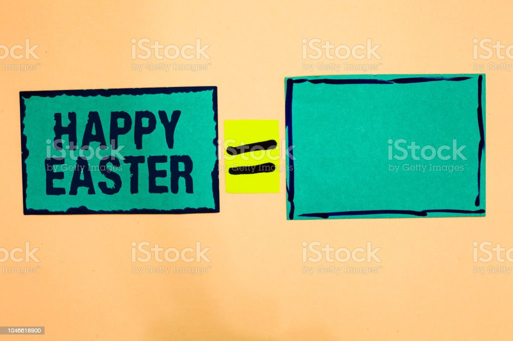Muestra De Texto Mostrando Felices Pascuas Fiesta Cristiana Foto Conceptual Conmemorando La Resurrección Del Papel De Jesús Turquoise Notas