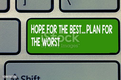 istock Text sign showing Hope For The Best...Plan For The Worst. Conceptual photo Disaster preparedness Keeping Safe 1049737704