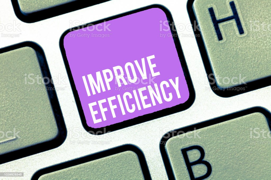 Text sign showing Improve Efficiency. Conceptual photo Competency in performance with Least Waste of Effort stock photo