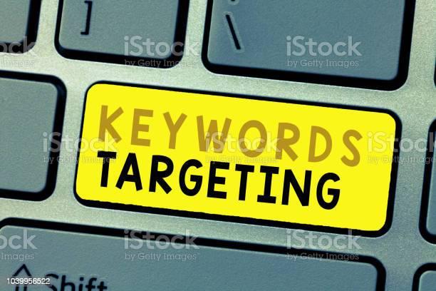 Text sign showing keywords targeting conceptual photo use relevant picture id1039956522?b=1&k=6&m=1039956522&s=612x612&h=nbqjvkdutggy2ajxmu uyd1gf9xclkru b2avz2m8jo=
