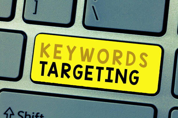 Text sign showing Keywords Targeting. Conceptual photo Use Relevant Words to get High Ranking in Search Engines – zdjęcie