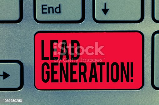 1131526784 istock photo Text sign showing Lead Generation. Conceptual photo initiation of consumer interest or enquiry into products 1039930280