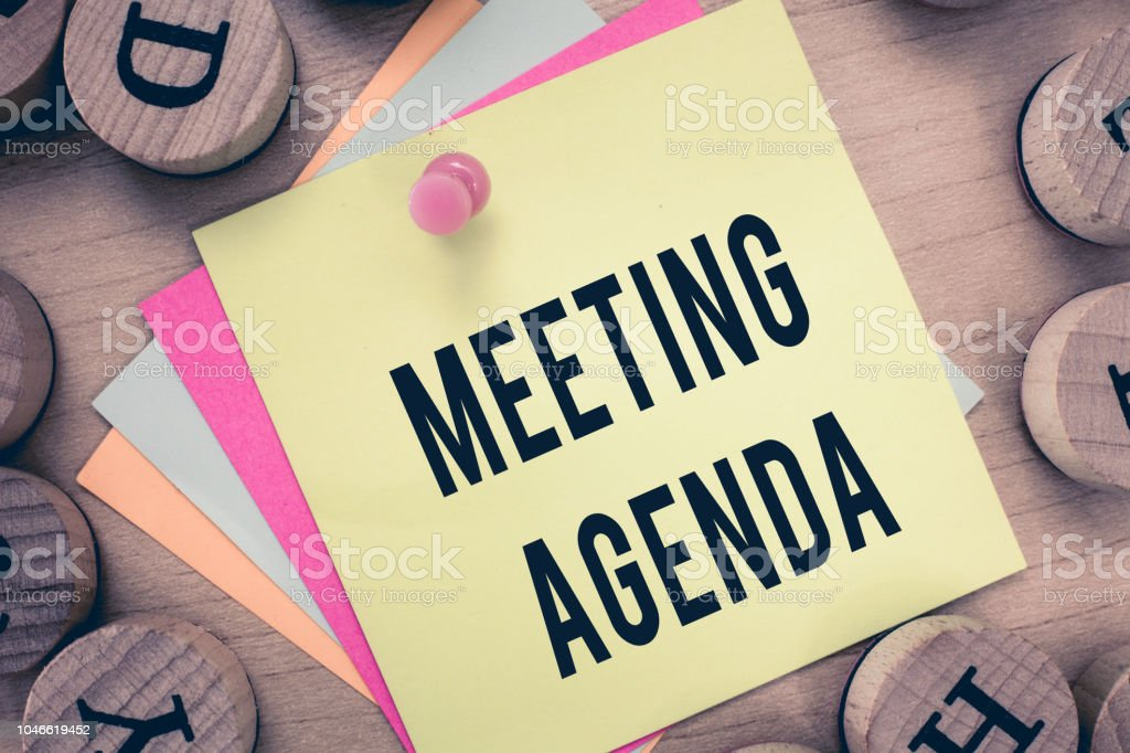 Text sign showing Meeting Agenda. Conceptual photo An agenda sets...