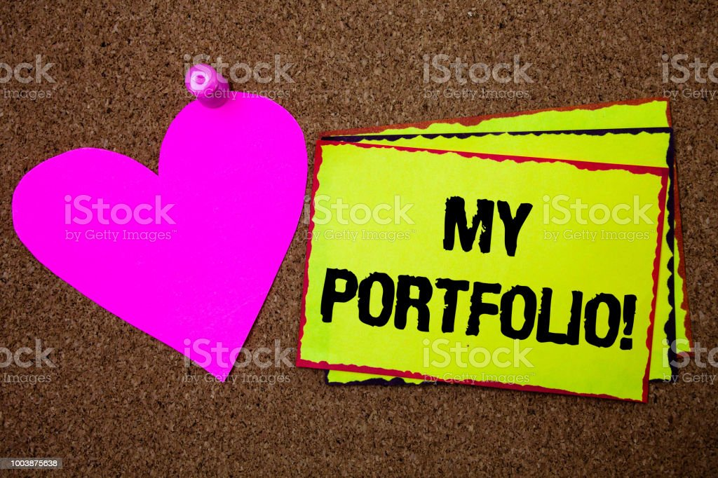 Text sign showing My Portfolio Motivational Call. Conceptual photo Samples of work Art drawings photography Border sticky remember cards love heart pinned dark brown background. – zdjęcie