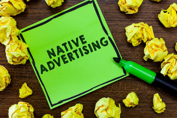 Text sign showing Native Advertising. Conceptual photo Online Paid Ads Match the Form Function of Webpage stock photo