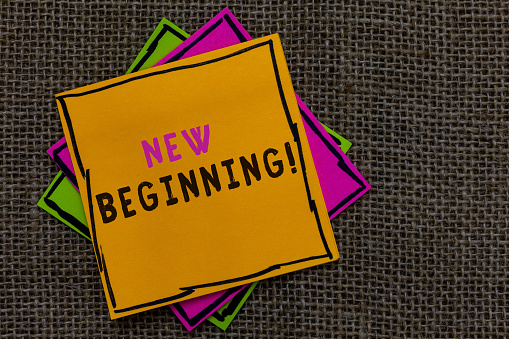istock Text sign showing New Beginning. Conceptual photo Different Career or endeavor Starting again Startup Renew Paper notes Important reminders Communicate ideas messages Jute background. 1046619658