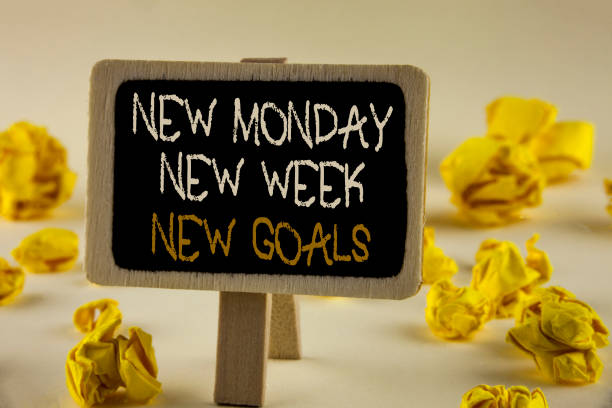 text sign showing new monday new week new goals. conceptual photo next week resolutions to do list goals targets written on wooden notice board on the plain background yellow paper balls. - monday motivation stock photos and pictures