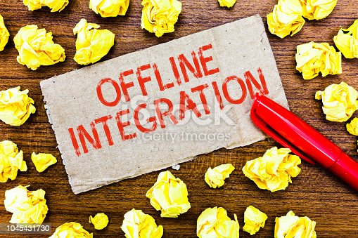 istock Text sign showing Offline Integration. Conceptual photo First Triad of Marketing Television Print and Outdoor 1045431730