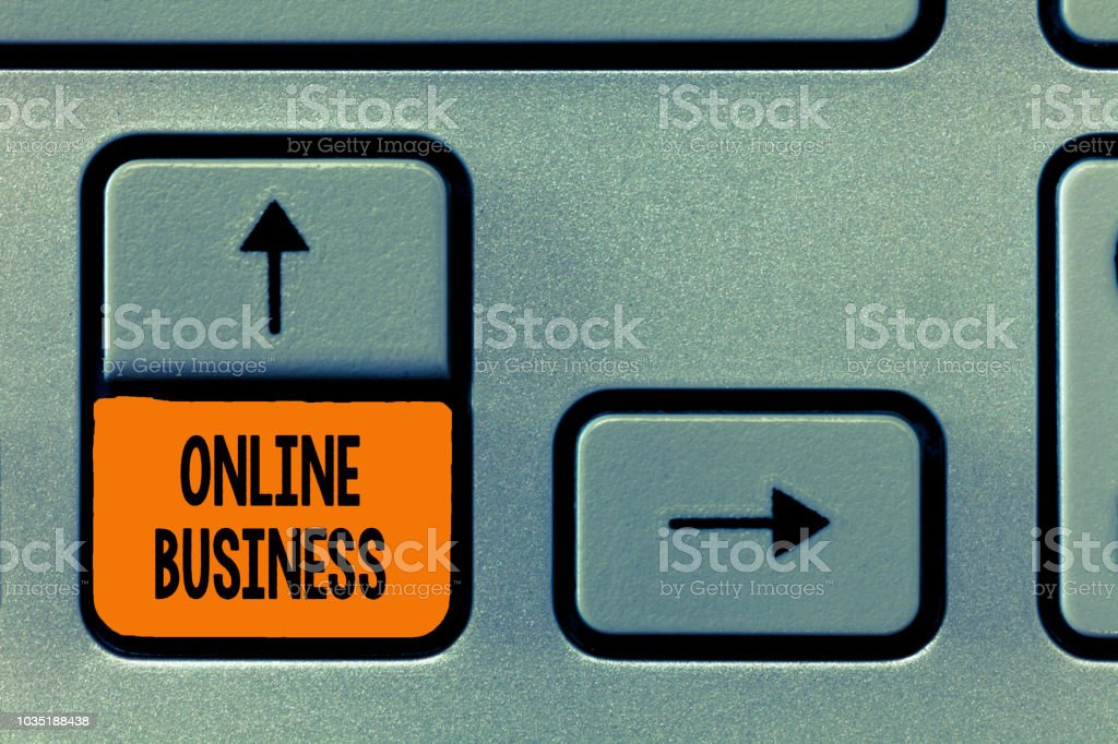 Text sign showing Online Business. Conceptual photo Commercial transaction sharing information in the internet stock photo