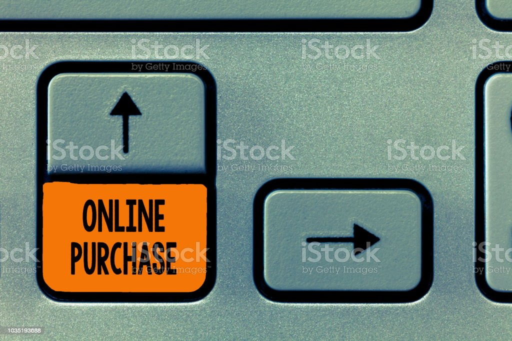 Text sign showing Online Purchase. Conceptual photo Purchases electronic commerce goods from over the Internet stock photo