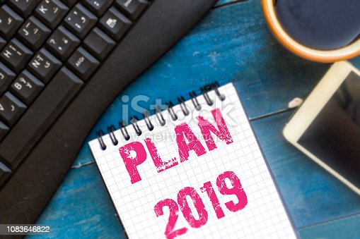 istock Text sign showing Plan 2019 1083646822