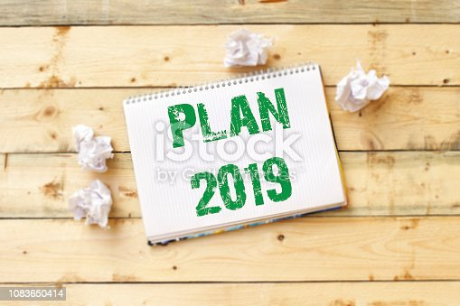 istock Text sign showing Plan 2019 1083650414