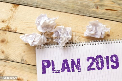 istock Text sign showing Plan 2019 1083655506