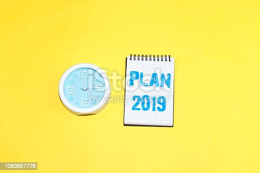 istock Text sign showing Plan 2019 1083657728