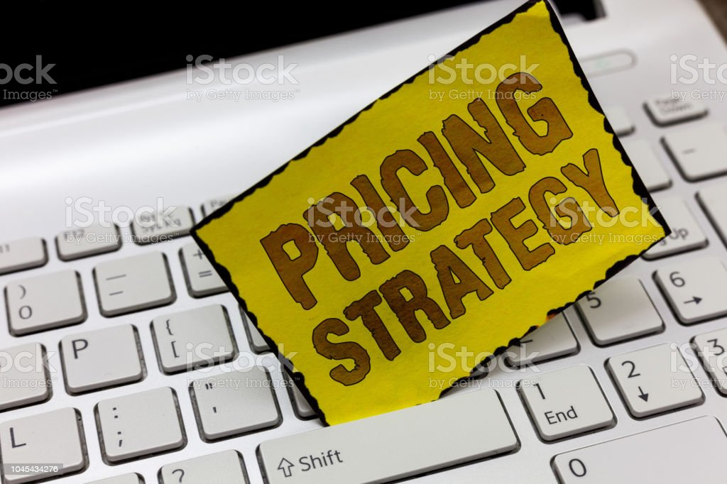 Text sign showing Pricing Strategy. Conceptual photo set maximize profitability for unit sold or market overall stock photo