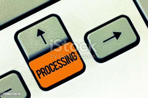 539953552istockphoto Text sign showing Processing. Conceptual photo Series of mechanical or chemical operations Deal with something 1056072618