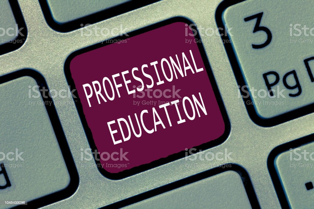 Text sign showing Professional Education. Conceptual photo Continuing Education Units Specialized Training stock photo