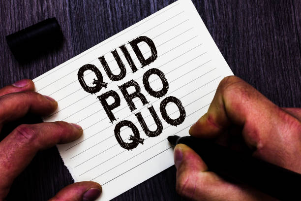 Text sign showing Quid Pro Quo. Conceptual photo A favor or advantage granted or expected in return of something Man holding marker notebook page communicate ideas Wooden background stock photo