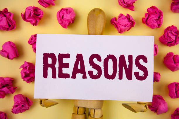 text sign showing reasons. conceptual photo causes explanations justifications for an action or event motivation written on sticky note paper on plain background paper balls and wooden robot toy. - deductive stock pictures, royalty-free photos & images