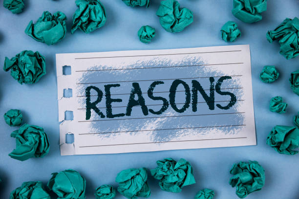 text sign showing reasons. conceptual photo causes explanations justifications for an action or event motivation written on notepad paper within green paper balls on plain blue background. - deductive stock pictures, royalty-free photos & images