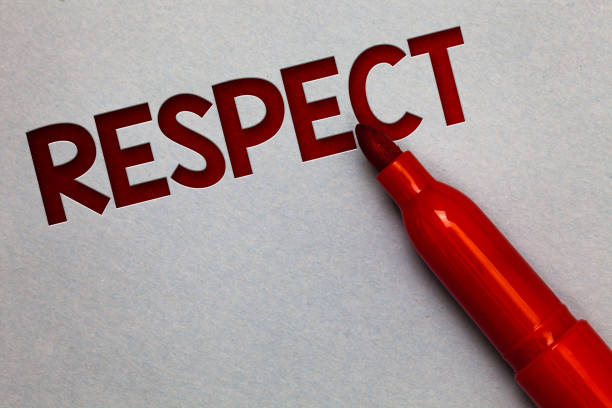 Text sign showing Respect. Conceptual photo Feeling of deep admiration for someone or something Appreciation White paper lite grey shadow red marker pen nice idea memorable thought. stock photo