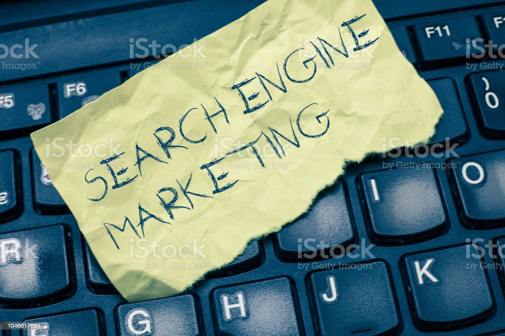 Text sign showing Search Engine Marketing. Conceptual photo promote Website visibility on searched result pages – zdjęcie