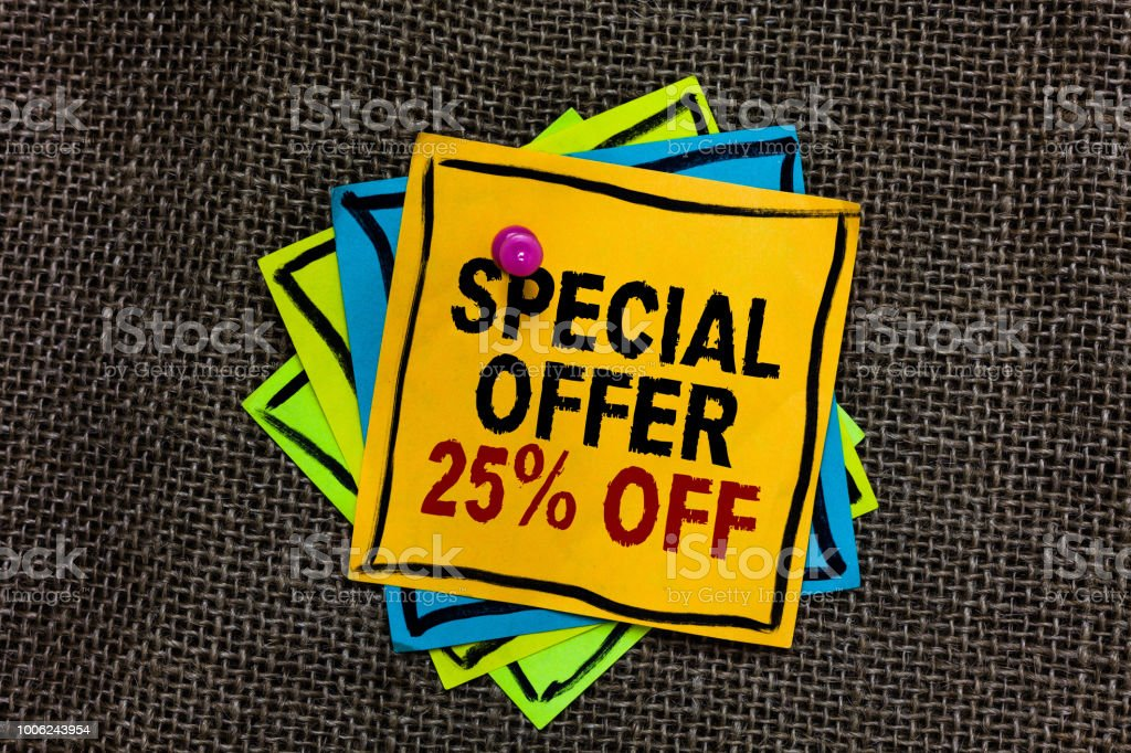 Text sign showing Special Offer 25 Off. Conceptual photo Discounts promotion Sales Retail Marketing Offer Black bordered different color sticky note stick together with pin on jute sack. stock photo