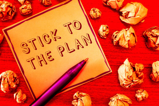 text sign showing stick to the plan. conceptual photo to adhere to some plan and not deviate from it follow - deviate stock pictures, royalty-free photos & images