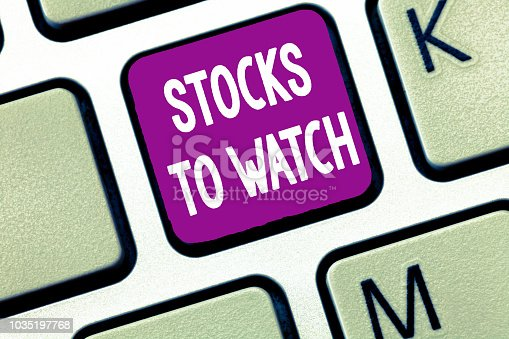 istock Text sign showing Stocks To Watch. Conceptual photo being heavy broker and watch every increase decrease 1035197768