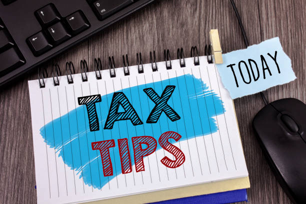 Text sign showing Tax Tips. Conceptual photo Help Ideas for taxation Increasing Earnings Reduction on expenses Concept For Information stock photo