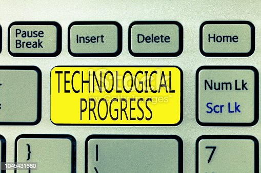 477843023 istock photo Text sign showing Technological Progress. Conceptual photo overall Process of Invention Innovation Diffusion 1045431880