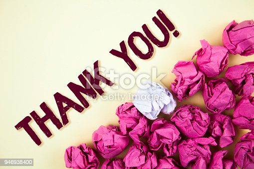 1068057218 istock photo Text sign showing Thank You Motivational Call. Conceptual photo Appreciation greeting Acknowledgment Gratitude written on Plain background Crumpled Paper Balls next to it. 946938400