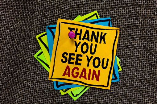 Text sign showing Thank You See You Again. Conceptual photo Appreciation Gratitude Thanks I will be back soon Black bordered different color sticky note stick together with pin on jute sack