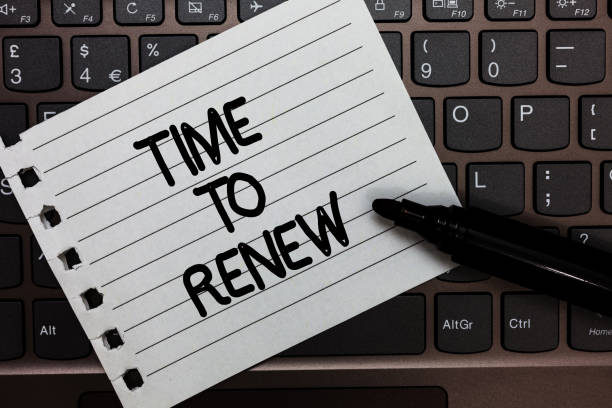 Text sign showing Time To Renew. Conceptual photo Continue the insurance acquired Life and property protection Notebook piece paper keyboard Inspiration ideas Type computer black marker. stock photo