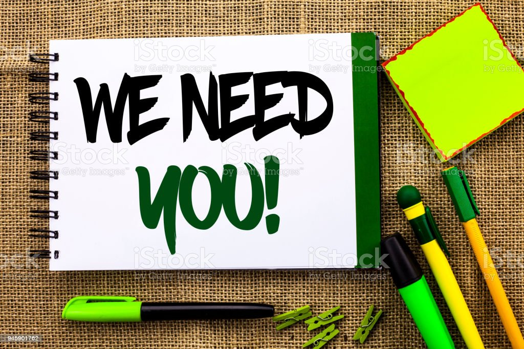 Text sign showing We Need You Motivational Call. Conceptual photo Company wants to recruit Employee required written on Notebook Book on the jute background Pens Clips Sticky Note next to it. stock photo