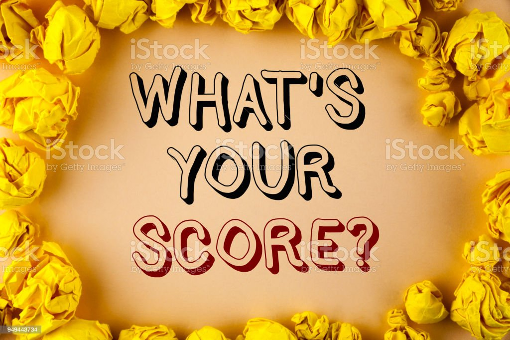 Text sign showing What Is Your Score Question. Conceptual photo Tell Personal Individual Rating Average Results written on plain background within Yellow Paper Balls. stock photo