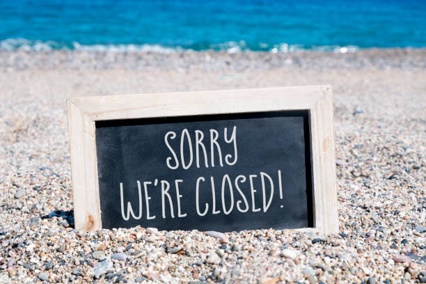 text sorry we are closed in a chalkboard - closed stock photos and pictures