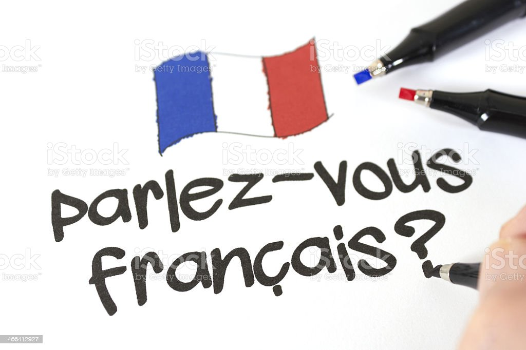 Text stating parlez-vous francais? stock photo