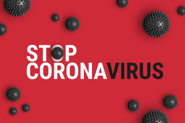 Text STOP CORONAVIRUS on red background with strain model of coronavirus 2019-nCoV Text STOP CORONAVIRUS on red background with strain model of Coronavirus disease COVID-19 from Wuhan, China. Abstract background of virus pandemic concept stop single word stock pictures, royalty-free photos & images
