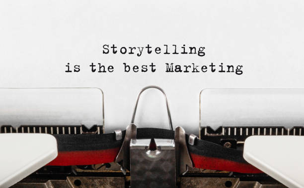 Text Storytelling is the best Marketing typed on typewriter stock photo