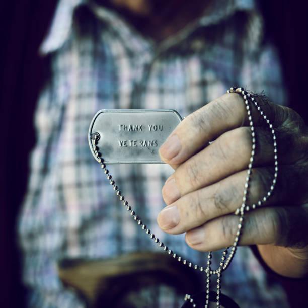 text thank you veterans in a dog tag - veterans day стоковые фото и изображения